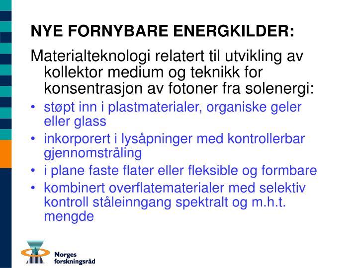 NYE FORNYBARE ENERGKILDER: