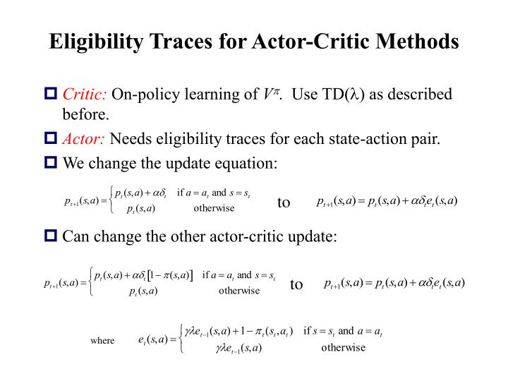 Eligibility Traces for Actor-Critic Methods