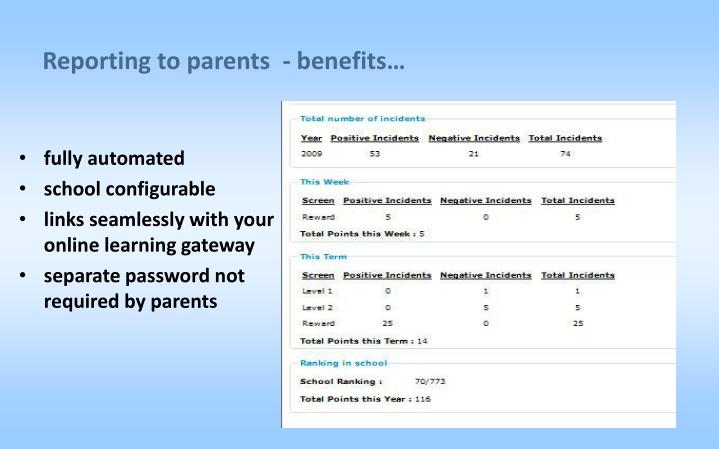 Reporting to parents  - benefits…
