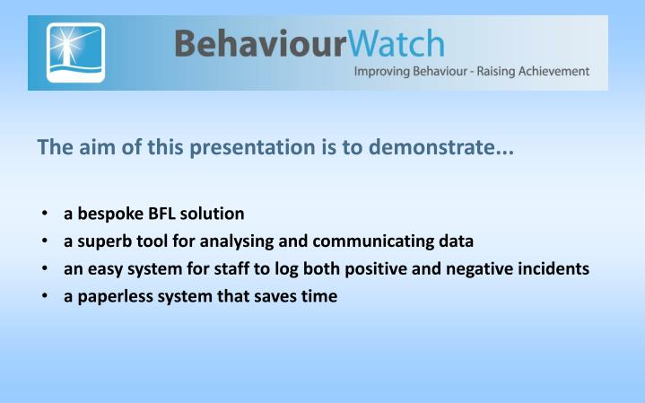 The aim of this presentation is to demonstrate...