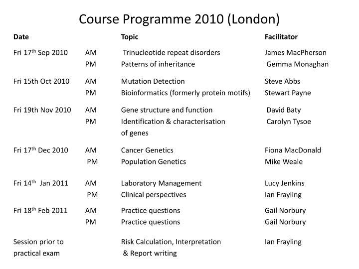 Course Programme 2010 (London)