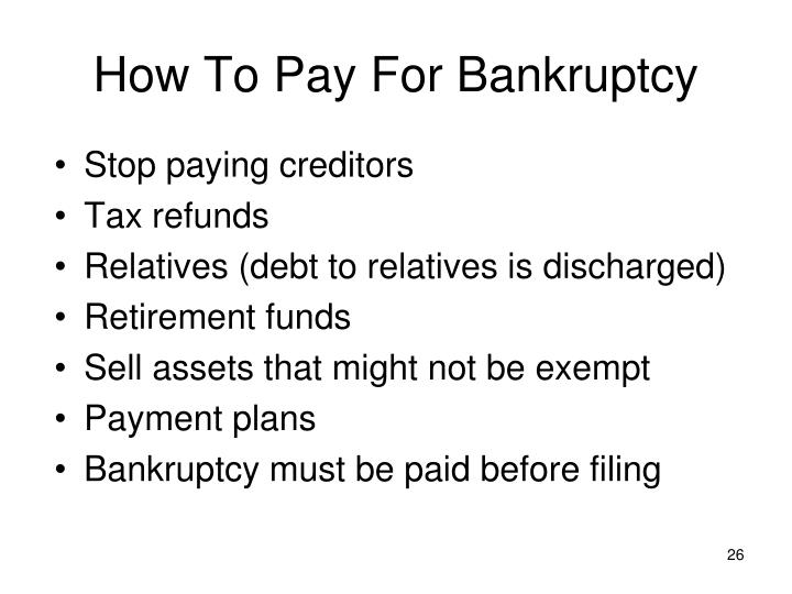 How To Pay For Bankruptcy
