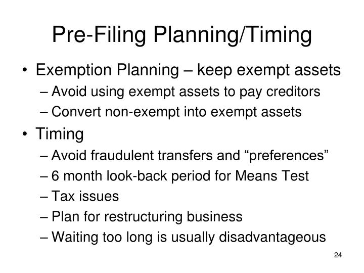 Pre-Filing Planning/Timing