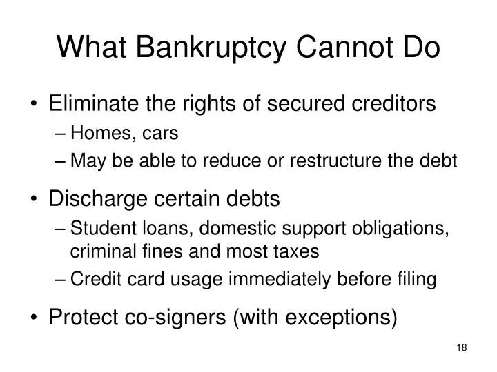 What Bankruptcy Cannot Do
