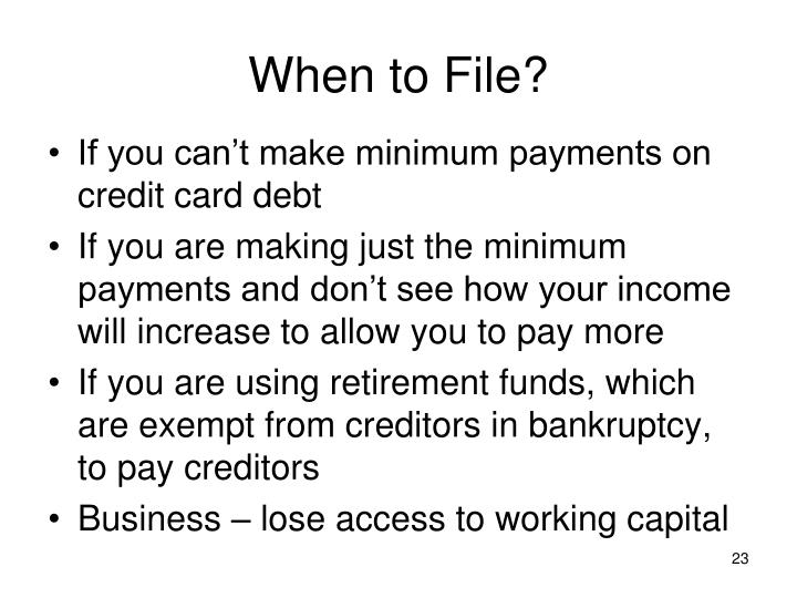 When to File?