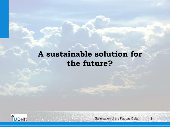 A sustainable solution for the future?