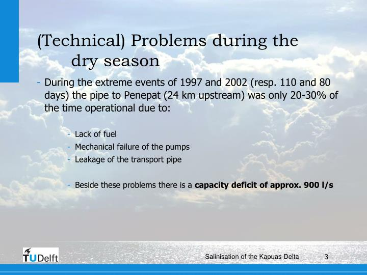 Technical problems during the dry season