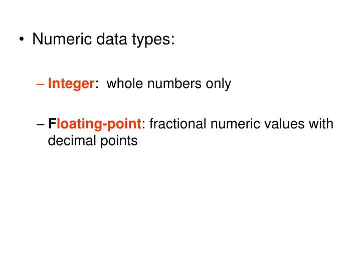 Numeric data types: