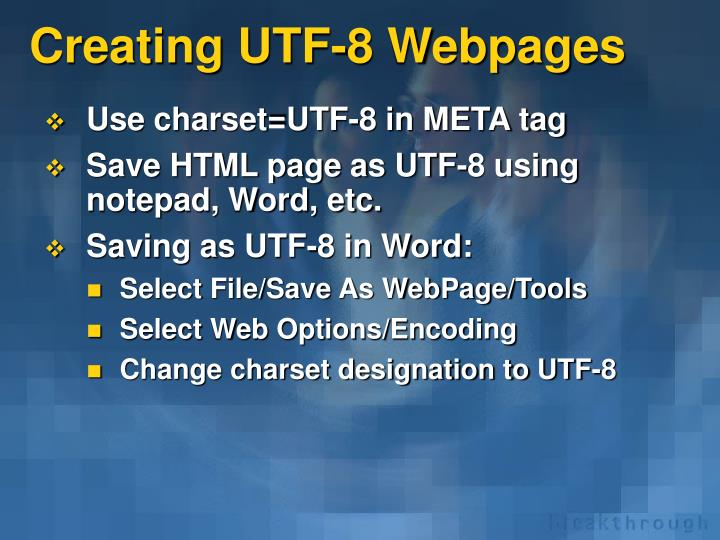 Creating UTF-8 Webpages