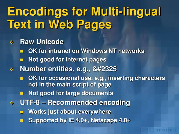 Encodings for Multi-lingual Text in Web Pages