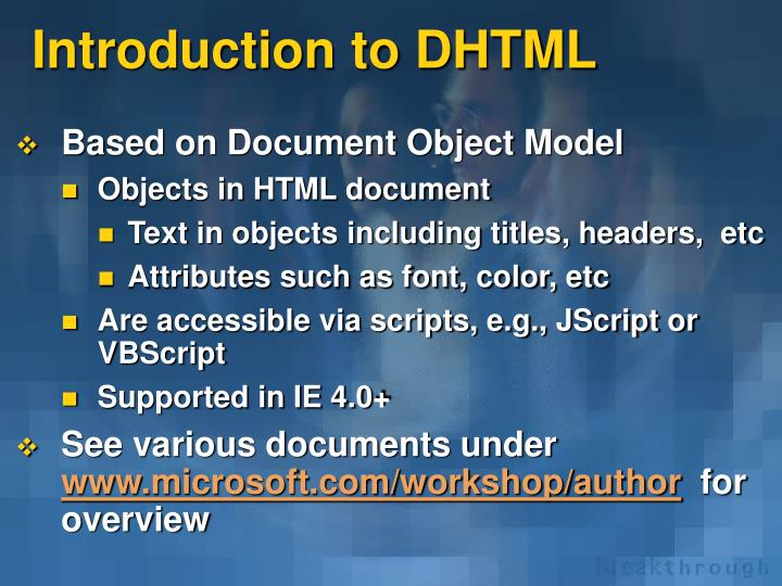 Introduction to DHTML