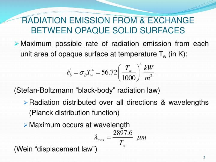 Radiation emission from exchange between opaque solid surfaces