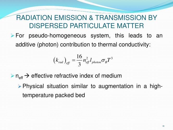 RADIATION EMISSION & TRANSMISSION BY DISPERSED PARTICULATE MATTER