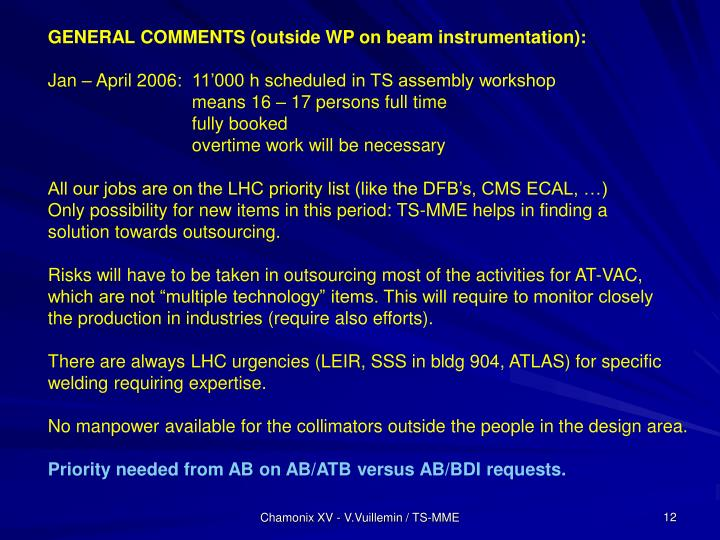 GENERAL COMMENTS (outside WP on beam instrumentation):