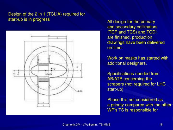 Design of the 2 in 1 (TCLIA) required for start-up is in progress