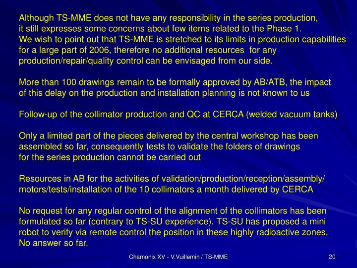 Although TS-MME does not have any responsibility in the series production,