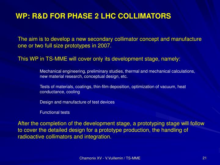 WP: R&D FOR PHASE 2 LHC COLLIMATORS