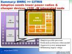 summary bwrc citris adoption needs lower power radios cheaper devices 100 m w integrated node