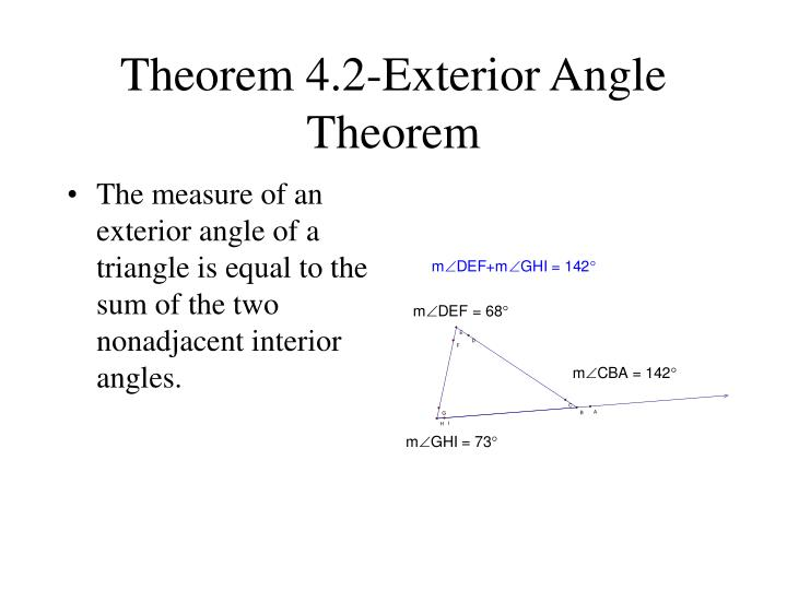 Theorem 4.2-Exterior Angle Theorem