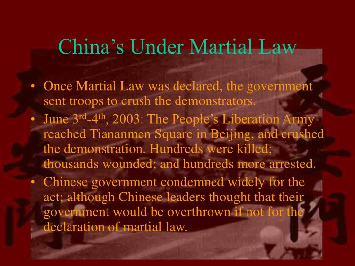 China's Under Martial Law