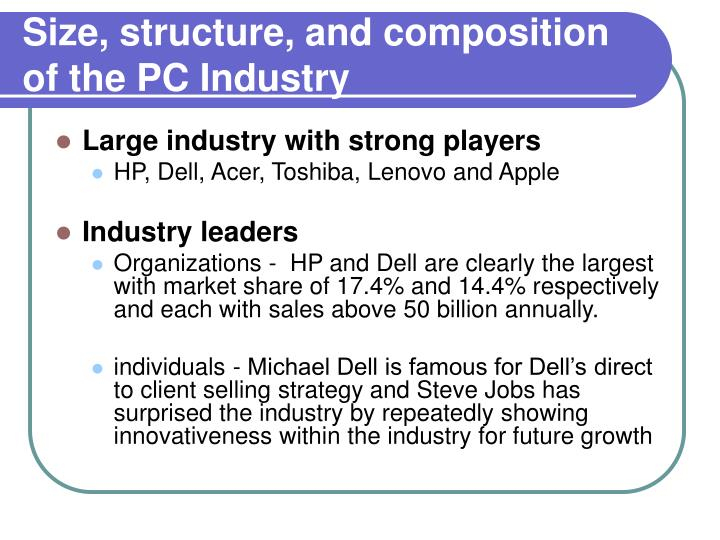Size, structure, and composition of the PC Industry