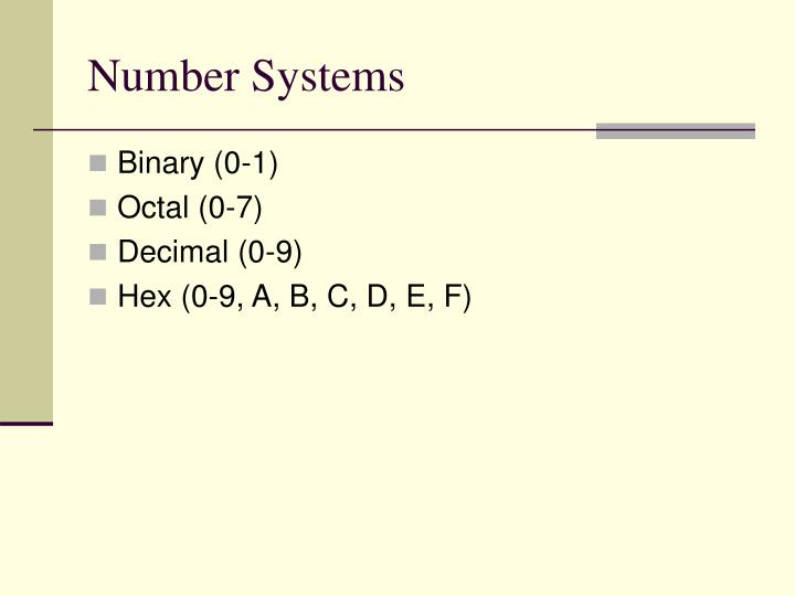 Number Systems