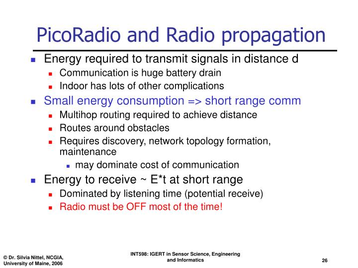 PicoRadio and Radio propagation