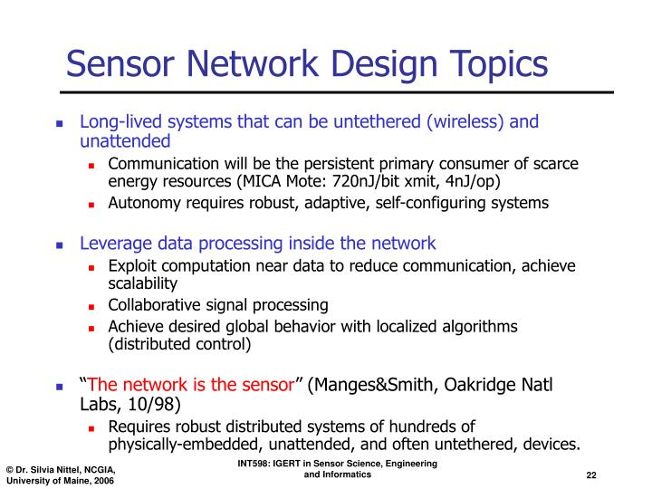 Sensor Network Design Topics