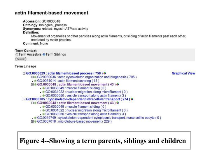 Figure 4 showing a term parents siblings and children