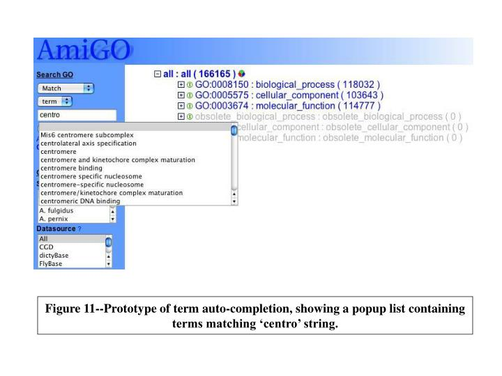Figure 11--Prototype of term auto-completion, showing a popup list containing terms matching 'centro' string.