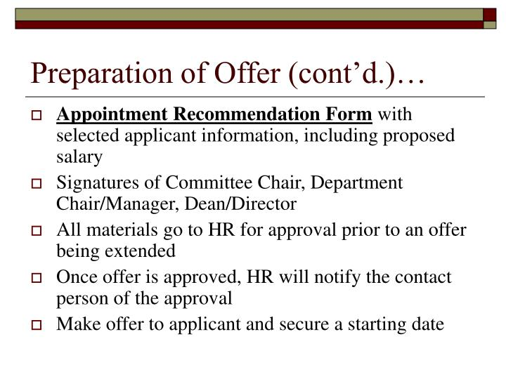 Preparation of Offer (cont'd.)…