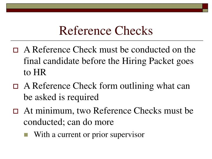 Reference Checks