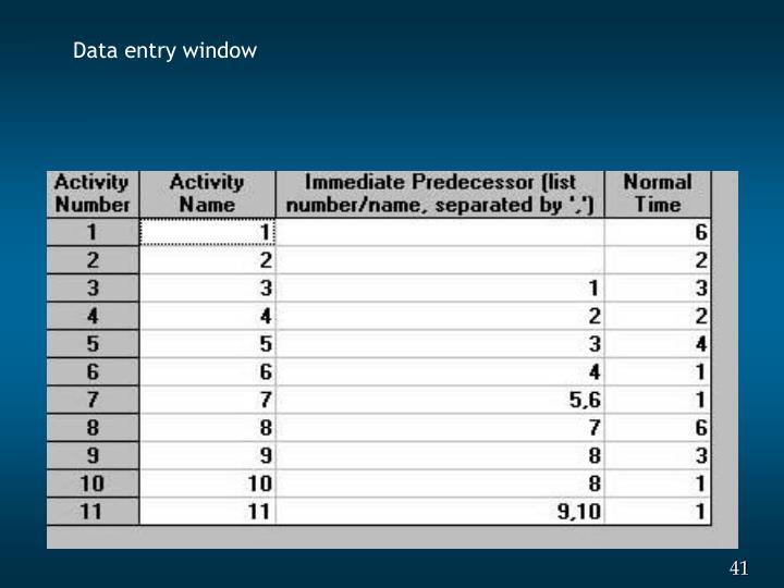 Data entry window
