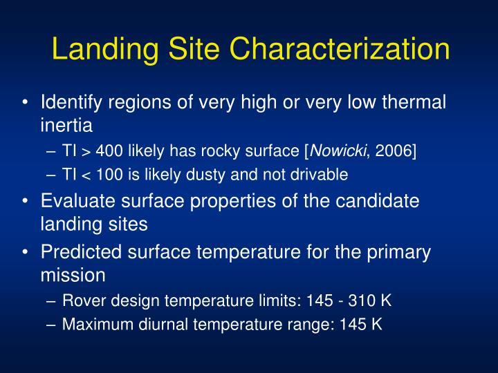Landing Site Characterization