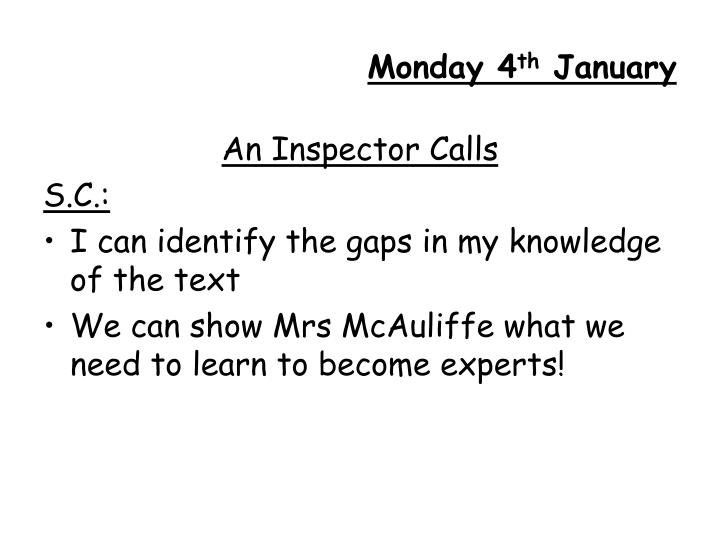 Monday 4 th january