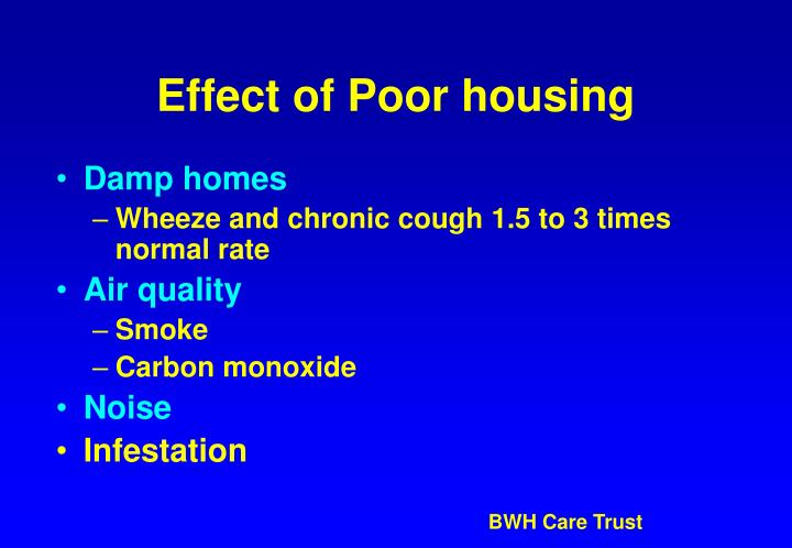 Effect of Poor housing