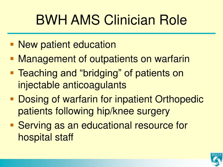 BWH AMS Clinician Role