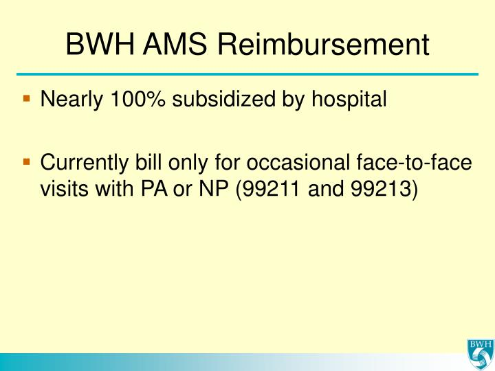 BWH AMS Reimbursement