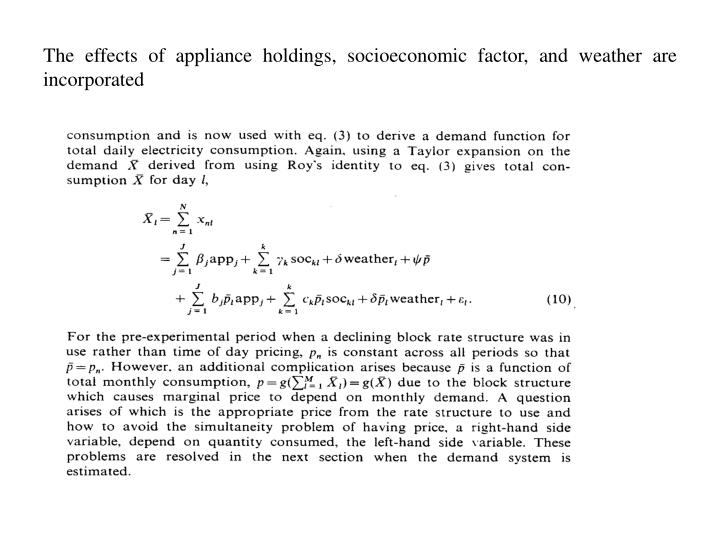 The effects of appliance holdings, socioeconomic factor, and weather are incorporated