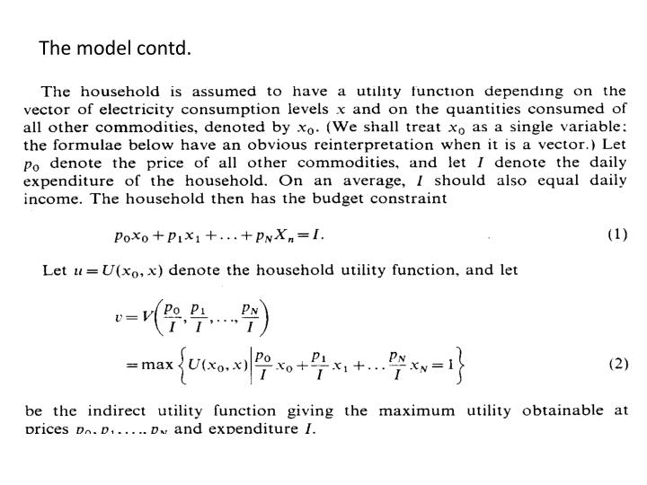 The model contd.
