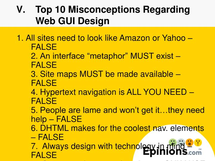 Top 10 Misconceptions Regarding Web GUI Design