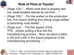 role of flow at toyota2