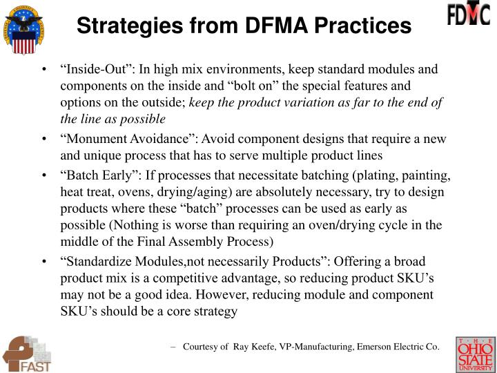 Strategies from DFMA Practices
