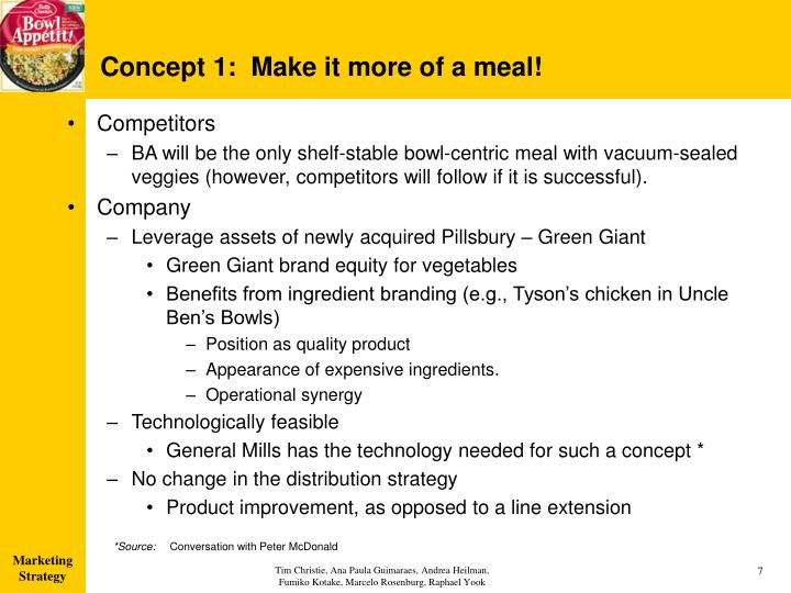 Concept 1:  Make it more of a meal!