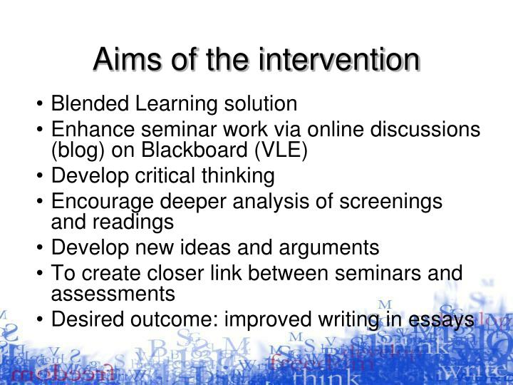 Aims of the intervention