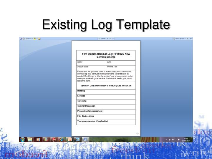 Existing Log Template