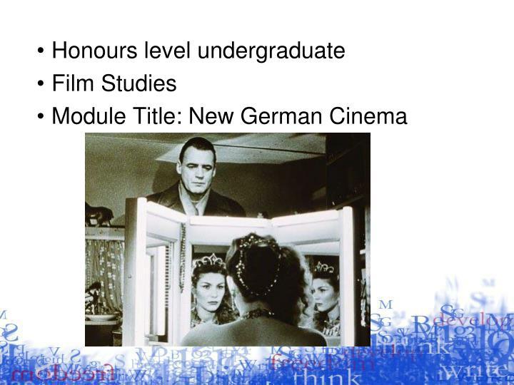 Honours level undergraduate