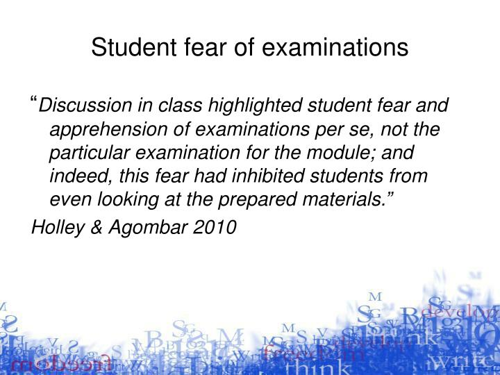 Student fear of examinations