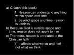 a critique his book