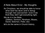 a note about error my thoughts